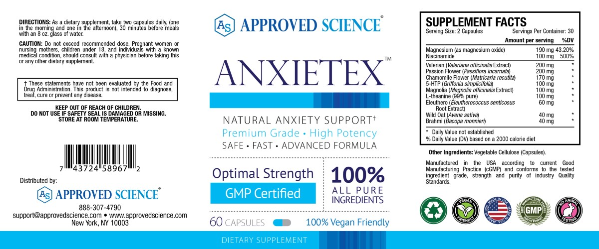 Anxietex Supplement Facts